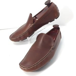 J Crew Brown Leather Driving Moccasins Sz 10